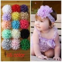 100Pcs/Lot new handmade hair accessory DIY chiffon flower  9.5-10cm 16colors flower headbands