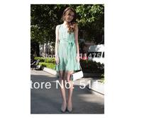 High quality new 2014 women's cute solid chiffon sleeveless o-neck pleated  summer dress,chiffon casual dress plus size XL,