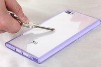New 2014 Original Ultra Thin Soft TPU Transparent Back Cover Case for Xiaomi Mi3 M3 Built-in Dustproof Plug Mobile Phone Cases