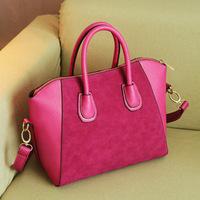 New 2014 female scrub smiley PU women's handbag vintage one shoulder handbag cowhide genuine leather cross-body bag