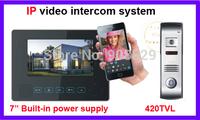 7 inch  IP networ 4 wire valli Video Door Phone Intercom Systeml built-in power supply mobine phone contorl