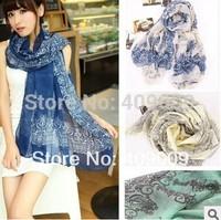 free shippig+ 15pcs/lot fashion head scarf voile Blue and white porcelain big scarf