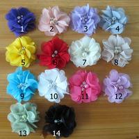2014 Wholesale children's headwear 6CM chiffon fabric flowers hair accessories 14 colors 100pcs/lot