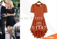 High quality new 2014 Women's solid o-neck short sleeve draped asymmetrical summer dress,chiffon casual dress Plus size XL