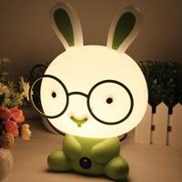 2014 Hot cartoon desk lamp glasses rabbit reading table lamp charging bunny night light cartoon Christmas gifts LE19