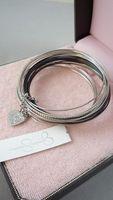 Bracelet slender metal combination silver black circle