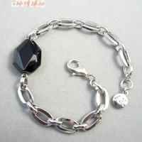 Bracelet ak platinum quality black crystal simple