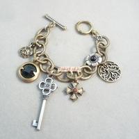 Bracelet vintage retro finishing key rose flower cross