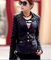 Fashion coat 2014 spring women leather jacket slim motorcycle leather clothing  plus size coats women outerwear casual jacket