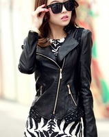 2014 spring and autumn leather jacket women casual jackets leather motorcycle clothing lace plus size 5XL leather coats female