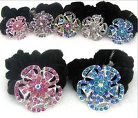 6pcs/lot Quality Flower Rhinestone Velvet Hair Scrunchies Hair Ties Ponytail Holder Hair Bands Free Shipping