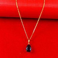 Africa Real 24K Yellow Gold Plated Necklace ! Blacks Women Men Luxury Figaro Chain Water Drop Zircon Pendant Jewelry  A074