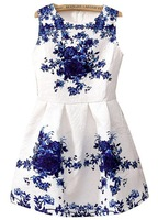 2014 Spring/Fall New Vintage Style Women's Fashion White Sleeveless Porcelain Print Flare Dress