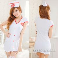 2014 New Sexy Hot Women Lady Cosplay Nurse Babydoll Garter Belt Sleepwear Underwear Nightgown Pajamas Lingerie Clothing Set 4085