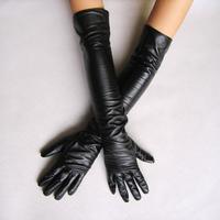 2013 Women's faux leather long gloves ultra long belt long design fashion women's gloves 50cm S M
