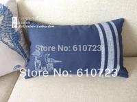 wholesaleThe Mediterranean Sea/ocean navy wind Navy canvas printing seabirds Long hold pillow pillow waist pillow pillows (core)