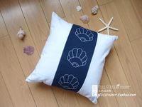 whole sale,Marine canvas patchwork embroidery flower shell scallop kaozhen pillow core