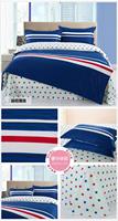 Blue Queen Size 100% Cotton bedding Include Duvet cover Bed sheet pillowcase Free shipping