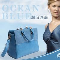 2014 scrub genuine leather female bags new arrival fashion handbag one shoulder cross-body bag blue