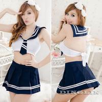 Sexy Women Lady School Cosplay Tempt Skirt Babydoll Thong Costumes Pajamas Erotic Sleepwear Clothing Set Nightgown White 4088