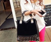 New 2014   nubuck leather female bags fashion vintage rivet chain bag messenger bag handbag