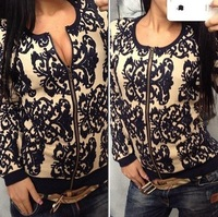 Spring and autumn new vintage blue and white porcelain o-neck zipper wool cardigan sweater female