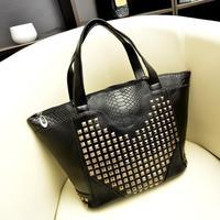 2014 New Korean female bag fashion punk style rivets handbag crocodile pattern shoulder diagonal fashion leisure bags wholesale
