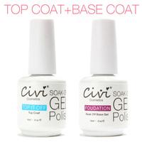 UV Top Coat + UV Base Coat Foundation  for UV Gel Gel Polish Top it off 30 day long lasting Civi Nail Gel