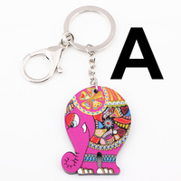 2014 new fashion zakka vintage cute cartoon funny designer animal elephant creative gift acrylic keychain for keys bags 2pcs