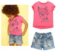 2014Kids Summer Fashion Clothing Set,Cute Deer Short-Sleeve T-Shirt+Denim Shorts Girls Suits 5Set/1Lot Free Shipping(90cm-130cm)