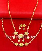 Africa Real 24K Yellow Gold Plated Necklace Earrings Bracelet set ! Blacks Women Luxury Flower Water Drop Pendant Jewelry A081