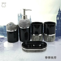 New Luxury Black Five pieces Resin Bathroom Set Bathroom Supplies Home Decor Free shipping