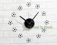 [listed in stock]-30-70cm Cartoon Football Acrylic Clock Boy Wall Stickers Bedroom Decoration For Baby's Room (wc1358)