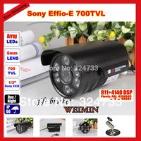 "1/3"" Sony Effio CCD 700TVL CCTV Surveillance Home Security IP66 Waterproof Outdoor Day Night 6 led Array IR Camera"