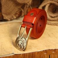 100% Genuine Leather Vintage Belts for Women Matel Skull Buckle Woman Belt Fashion Female Strap Cintos Ceinture  2014 WBT0051