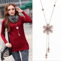 pendant camellia necklace  fashion with six petals sweater chain tassel long necklace