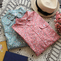 W3 Spring 2015 Discount Pastoral Floral Women Casual Blouses Shirts Cotton Long Sleeved Shirt Clothing blusas Femininas Roupas