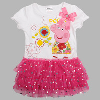 Freeshipping 2014 new dress for girls peppa pig Cotton short-sleeve baby girls summer dresses 2~6 Years kids dress