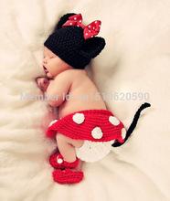 Handmade infantil Hat Bebé recém-nascido Crochet Gorro criança malha bonito dos desenhos animados de Mickey Mouse Bow Props Fotografia Costume Set(China (Mainland))