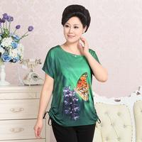 2014 summer quinquagenarian women's faux silk top t-shirt mother clothing fashion print batwing sleeve t-shirt