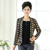 Quinquagenarian spring faux two piece long-sleeve middle-age women mother clothing thin long-sleeve short jacket blazer