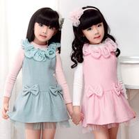 2013 autumn and winter female child woolen cloth tank dress one-piece dress 829