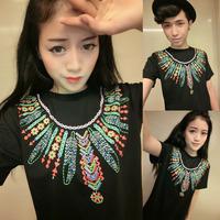West coast 2014 vintage feather necklace gd HARAJUKU short-sleeve T-shirt