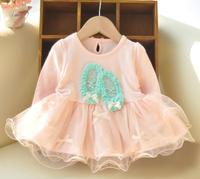 2014 spring&autumn ballet shoes print dress baby hot pink dress children lace dresses kids princess puff dress girls gauze dress