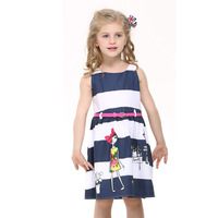 One piece! 2014 new summer kids dresses Fashion cotton girl's sleeveless casual dress with belt Freeshipping