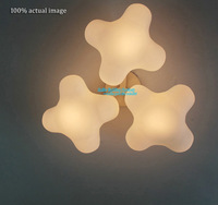 Free Shipping   Clover Clouds Style Ceiling Wall Lamp  Creative White Glass  Ceiling Lighting Fixture Modern 3 Light