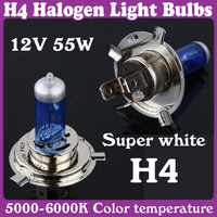 Halogen Xenon Low Beam H4 12V 55W P43T Super White Light Bulbs 5000-6000K 6 pcs/Lot