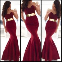 2014 Sexy Mermaid Design New Gold Belt Custom Size Long Formal Evening Dresses Gown