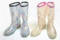 Free shipping new women rainboots 2014  Transparent crystal boots fashion boots-in-tube hollow flower lace boots