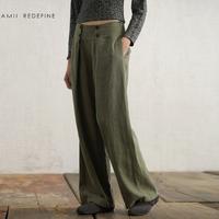 Amii redefine vintage women's linen wide leg pants casual pants long trousers 11300763